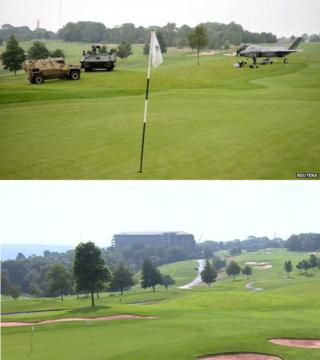 Before and after of tanks on gold course