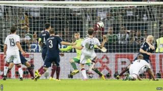 Thomas Muller scores for Germany against Scotland