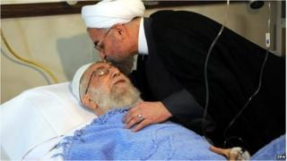 Iranian President Hassan Rowhani (R) visits Iranian supreme leader Ayatollah Ali Khamenei in hospital after a surgery in Tehran, Iran on 8 September 2014.