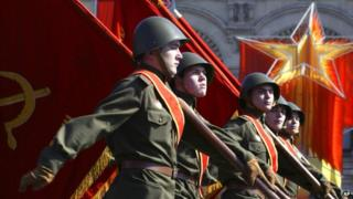 Russians dressed as World War-II-era Soviet soldiers on parade in the Red Square in Moscow in 2006