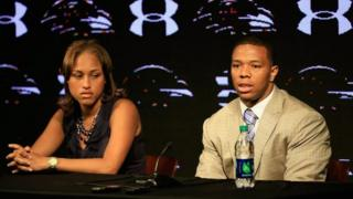 Ray Rice and his wife Janay at a press conference on May 23