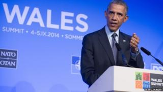 At a summit meeting in Wales, Mr Obama spoke with Nato leaders