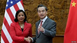US national security adviser Susan Rice met Foreign Minister Wang Yi Tuesday
