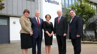 Stormont Ministers, Arlene Foster, Peter Robinson, Jackie Henry from Deloitte, Martin McGuinness and Stephen Farry.