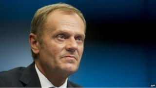 Polish Prime Minister Donald Tusk during a press briefing at the European Union summit in Brussels - 30 August 2014