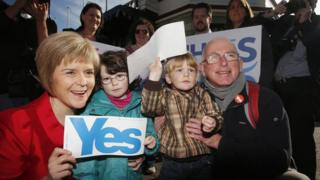 Deputy First Minister of Scotland Nicola Sturgeon backing the Yes vote