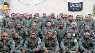 This undated file image attached in a statement released on Saturday, Aug. 30, 2014 on the Hanin Network website, a militant website, shows Fijian UN peacekeepers who were seized by The Nusra Front on Thursday, Aug. 28