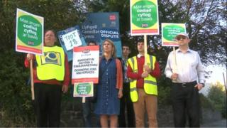 Striking members of staff at the National Library of Wales