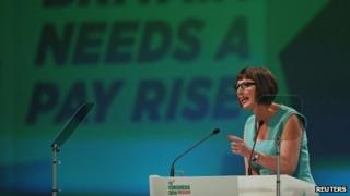Francis O'Grady, general secretary of the TUC delivers her keynote speech