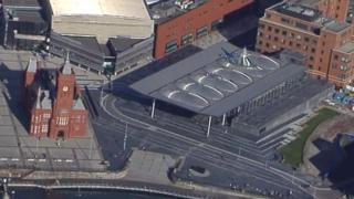Aerial view of the Senedd