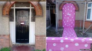 Before and after views of bricked-up house in Southend