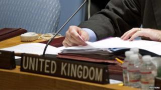 Close-up of UK seat at the UN