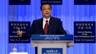 Premier Li Keqiang talked about reforms during the World Economic Forum in Tianjin on Thursday
