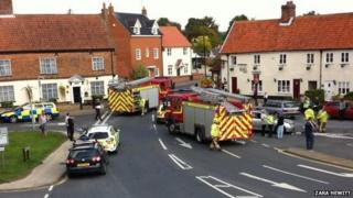Traffic accident in Acle, Norfolk