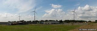 View from footpath south of Seaton Carew showing proposed wind turbines