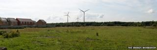 View from the B1276 south of Hartlepool showing proposed wind turbines