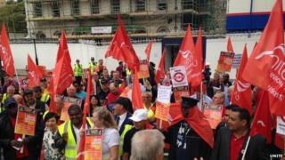 Unite protestors