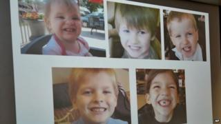 "Photos of Timothy Ray Jones Jr. children on display in the Lexington County Sheriff""s Dept"