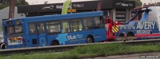 Bus being removed