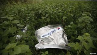 a piece of the MH-17 fuselage