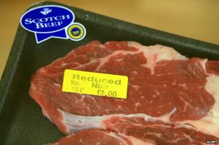 Scotch beef with price tag