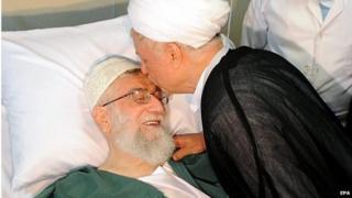 Ali Akbar Rafsanjani kisses Ayatollah Ali Khamenei (08/09/14)