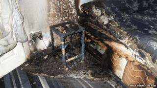 The fire damage from an exploding e-cigarette