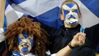 Scottish fans attend an Argentina vs Scotland match in the 2011 Rugby World Cup in Wellington, New Zealand
