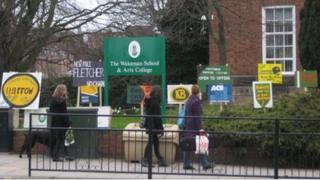 Signs outside Wakeman School