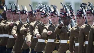 Soldiers of the 4th Battalion, The Royal Regiment of Scotland are pictured during a medals parade