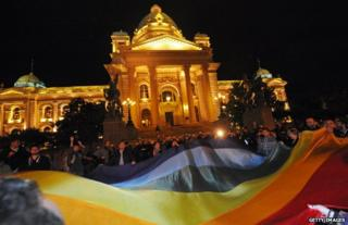 A gay rights demonstration in front of the Serbian Parliament on 27 September 2013 in Belgrade. Serbia