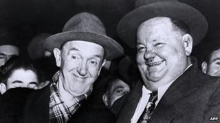 Stan Laurel (l) and Oliver Hardy in 1950