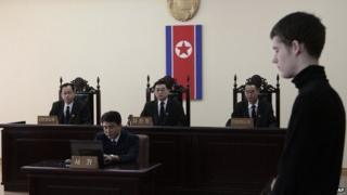 Matthew Miller stands during his trial at the Supreme Court in Pyongyang, North Korea, 14th Sept 2014