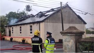 Orange Hall in Newtowncunningham that was badly damaged