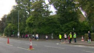 Runners in Belfast Half Marathon