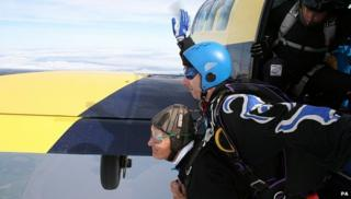 Cliff Dadson, left, about to make his jump from 13,500ft