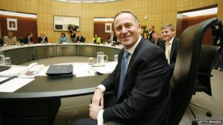 Prime Minister John Key and Finance Minister Bill English pose during a cabinet meeting at the Beehive on 28 November, 2011 in Wellington, New Zealand