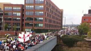 EDL march down Main St, Rotherham