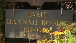 Dame Hannah Rogers School sign