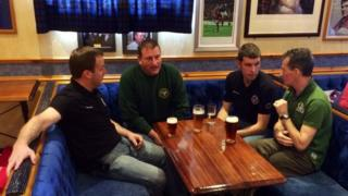 Fans of the Old Firm mix freely at the Glasgow Rangers Supporters' Club in Stornoway
