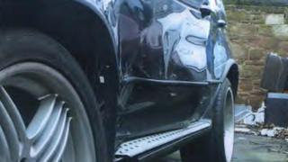 Michael Lee's damaged BMW