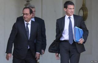Francois Hollande (L) with PM Manuel Valls (10 Sept)