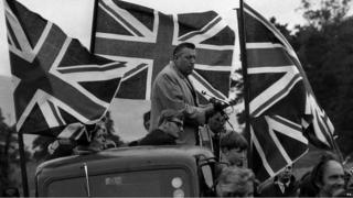 Ian Paisley addressing and Orange Order demonstration in Belfast in 1970.