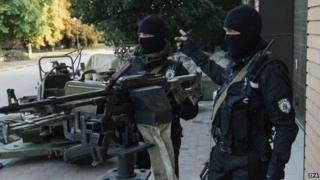 """Soldiers of the Ukrainian self-defence battalion """"Azov"""" at their base near Mariupol (16 September 2014)"""