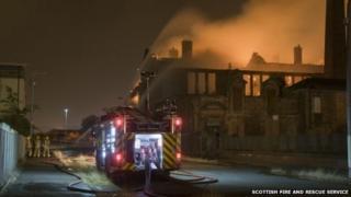 Fire at derelict school in Govan