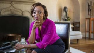 Social psychologist Jennifer Eberhardt poses for a portrait at Stanford University in Stanford, California 8 September 2014