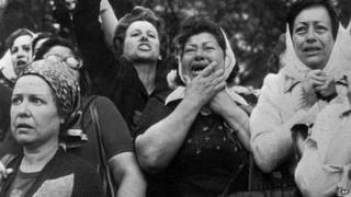 """Mothers of """"disappeared"""" children protest in Argentina in this 1977 photo"""