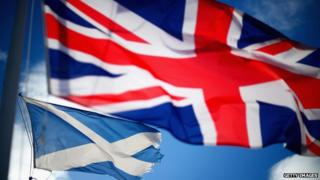 Large union jack. Smaller Scottish saltire