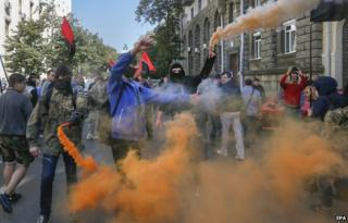 Nationalists objected after parliament passed a law giving special status to eastern Ukraine regions (17 Sept)