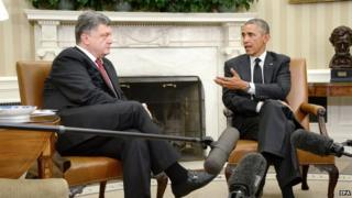 President Barack Obama meets Ukrainian President Petro Poroshenko in the Oval Office